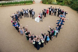 Wedding photography aerial shot