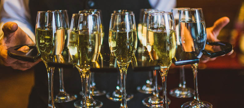 champagne at a wedding