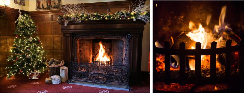 Wood fire at Woodhall Manor for Winter Weddings