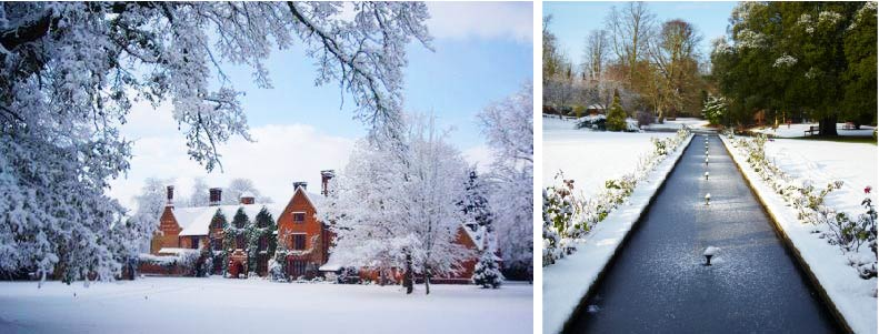 Winter wedding at Woodhall Manor