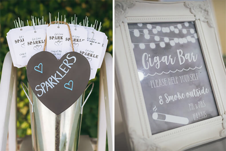 Guest treat signs for weddings