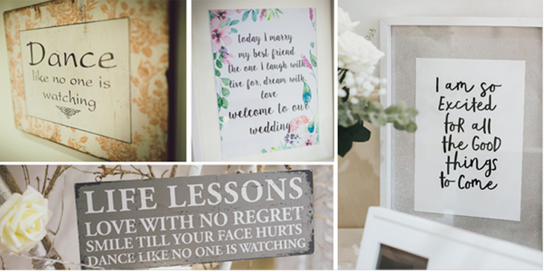 Love quote wedding signs