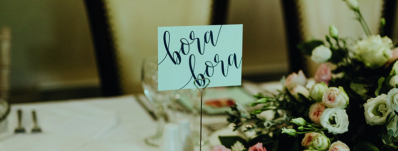 Wedding breakfast table names at Woodhall Manor