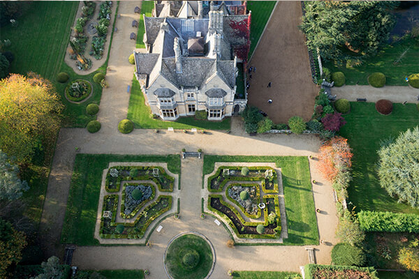 drone shot stately home